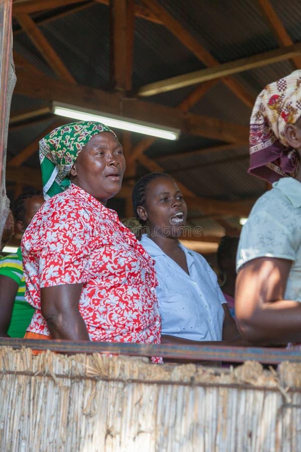 Mozambique Pentacostal Church gathering scenes in Xai Xai stock photo