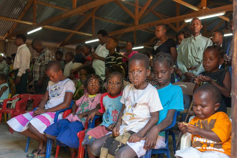 Mozambique Pentacostal Church gathering scenes in Xai Xai royalty free stock images