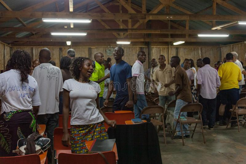 Mozambique Pentacostal Church gathering scenes in Xai Xai royalty free stock photography