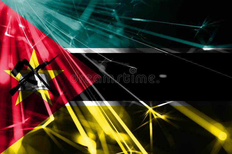 Mozambique shining fireworks sparkling flag. New Year 2019 and Christmas futuristic shiny party concept flag. Mozambique shining fireworks sparkling flag. New stock illustration