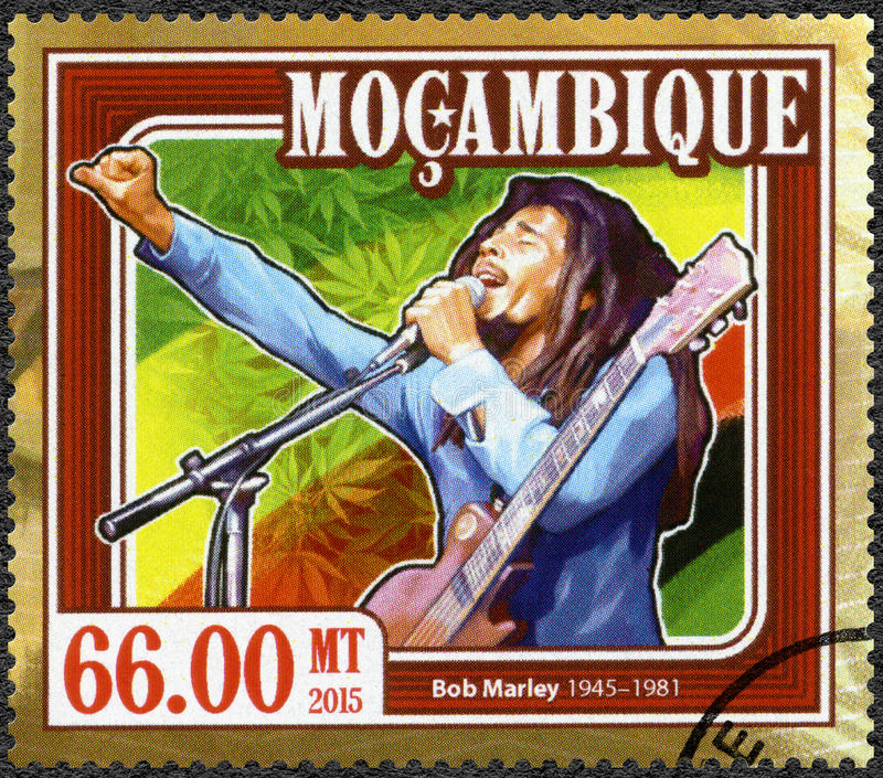 MOZAMBIQUE - 2015: shows portrait of Robert Nesta Bob Marley 1945-1981. MOZAMBIQUE - CIRCA 2015: A stamp printed in Mozambique shows portrait of Robert Nesta Bob stock images