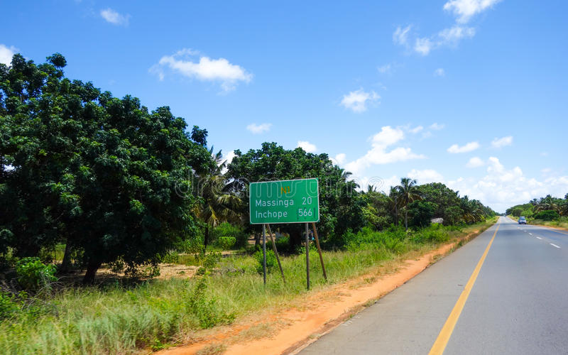 Mozambique sign post. Mozambique countryside sign post near the road stock image