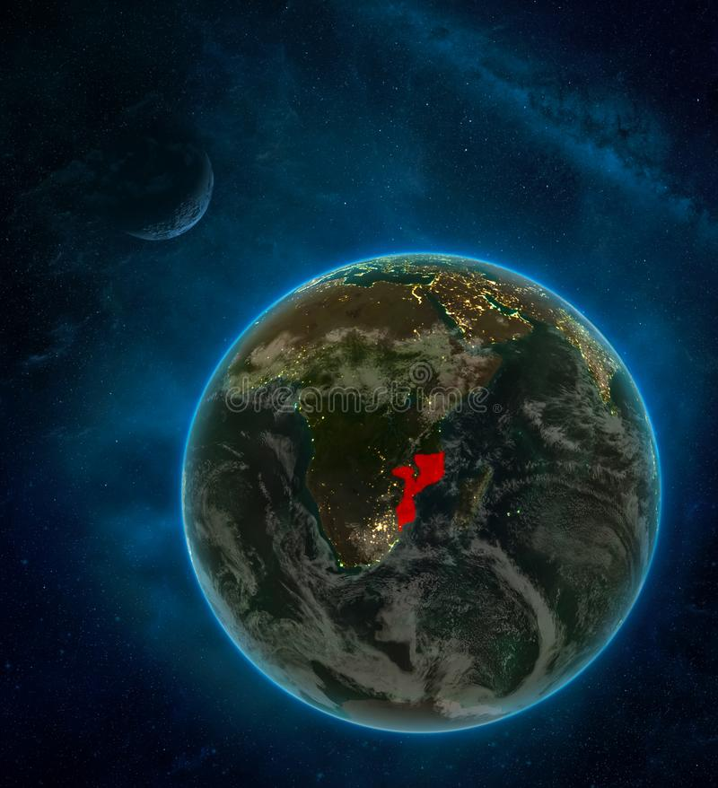 Mozambique from space on Earth at night surrounded by space with Moon and Milky Way. Detailed planet with city lights and clouds. 3D illustration. Elements of royalty free illustration