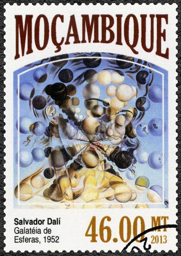 MOZAMBIQUE - 2013: toont Galatea van de Gebieden, 1952, door Salvador Dali 1904-1989 stock foto's