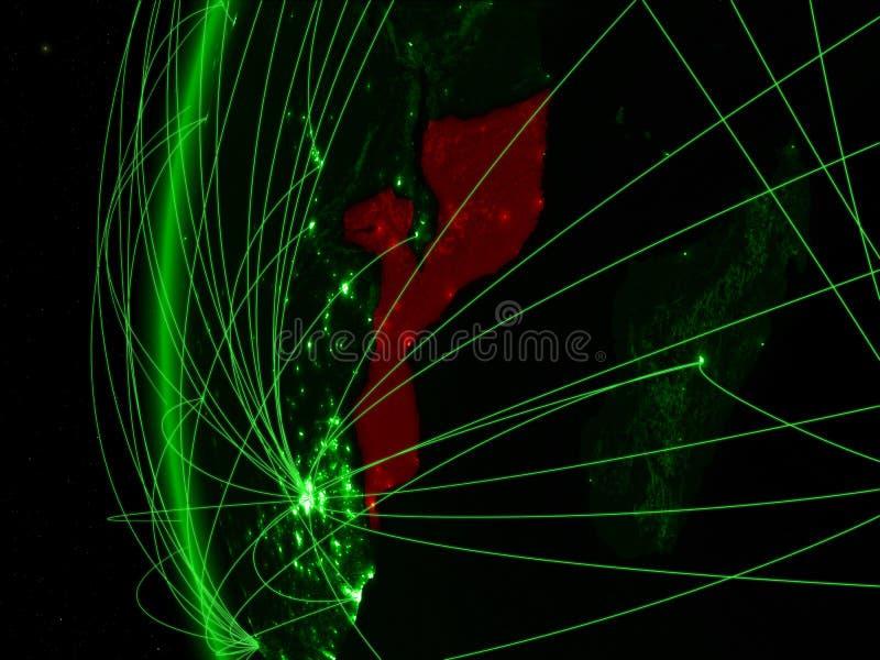 Mozambique van ruimte op groen model van Aarde met internationale netwerken Concept groene mededeling of reis 3d stock afbeelding