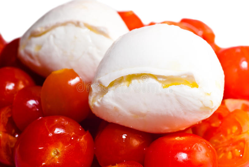 Download Mozarella Cheese On Top Of Red Tomatoes Stock Image - Image of eating, green: 42934263
