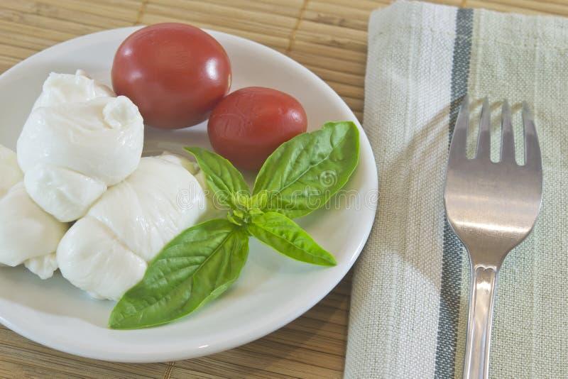 Mozarella en tomaten royalty-vrije stock foto's