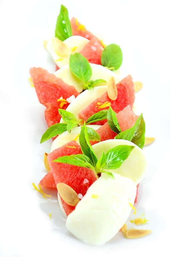 Mozarellakaas met watermeloen stock foto