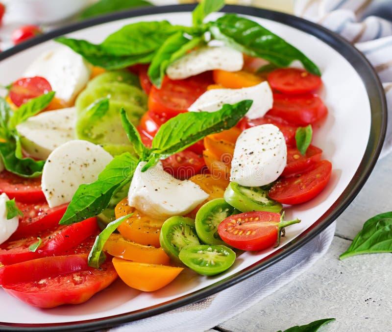 Mozarellakaas, tomaten en de bladeren van het basilicumkruid in plaat op de witte houten lijst royalty-vrije stock foto's