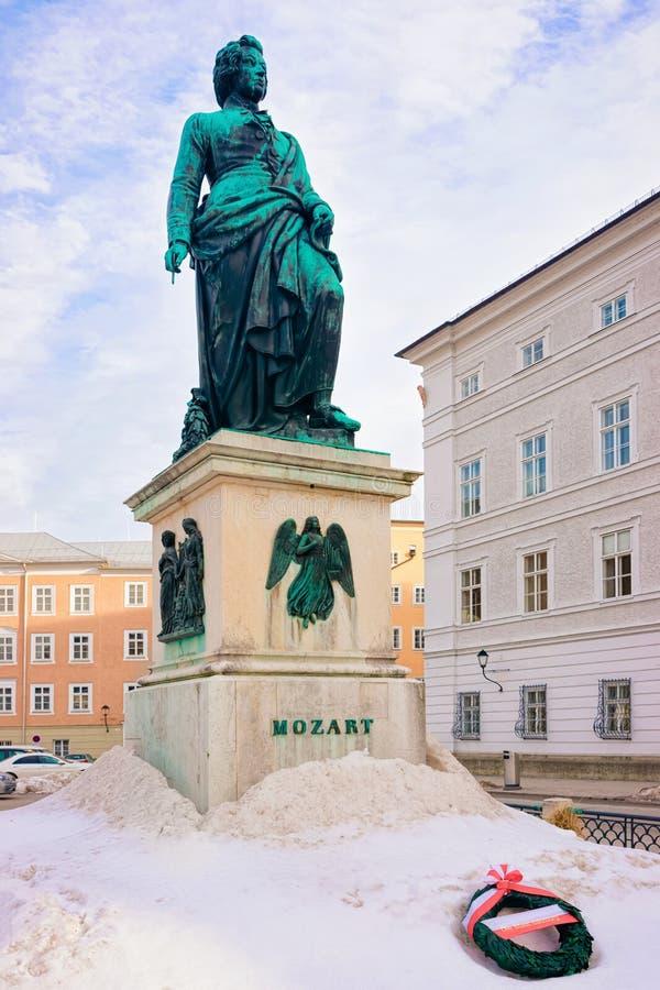Mozart monument on Mozartplatz Square at Old city of Salzburg stock images