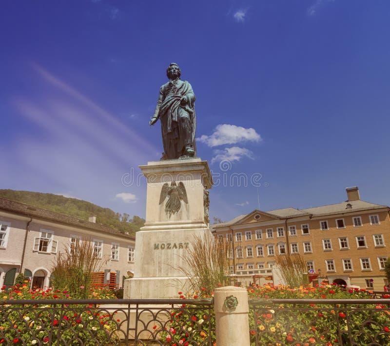 Mozart monument on Mozartplatz Square, Salzburg, Austria stock image