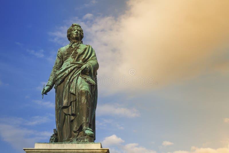 Mozart monument on Mozartplatz Square, Salzburg, Austria royalty free stock image