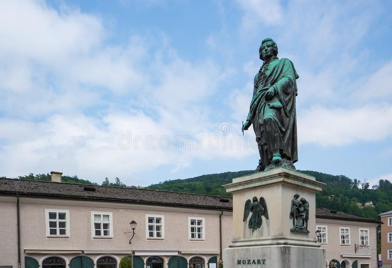 Mozart Monument in Salzburg, Austria stock photography