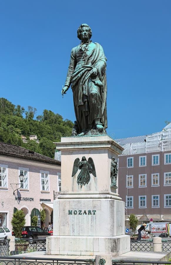 Mozart Monument in Salzburg, Austria stock images