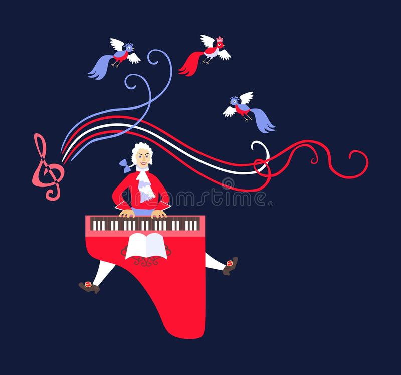 Mozart performed his music on the harpsichord. Cute cartoon vector stock illustration