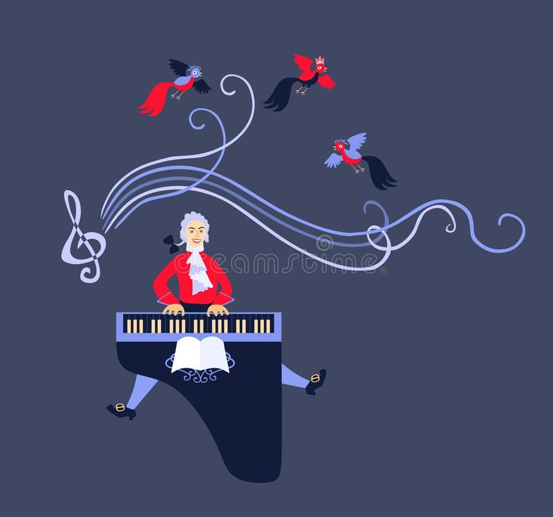 Mozart performed his music on the harpsichord. Cute cartoon vector royalty free illustration