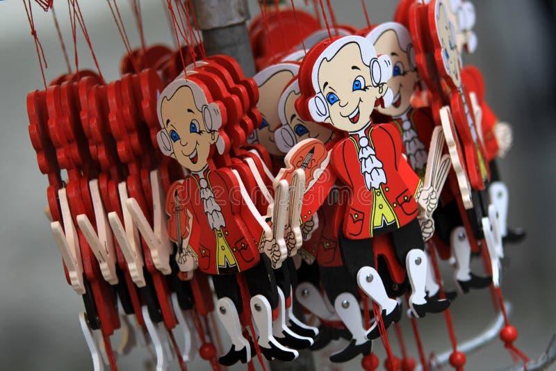 Mozart puppet in Salzburg stock photo