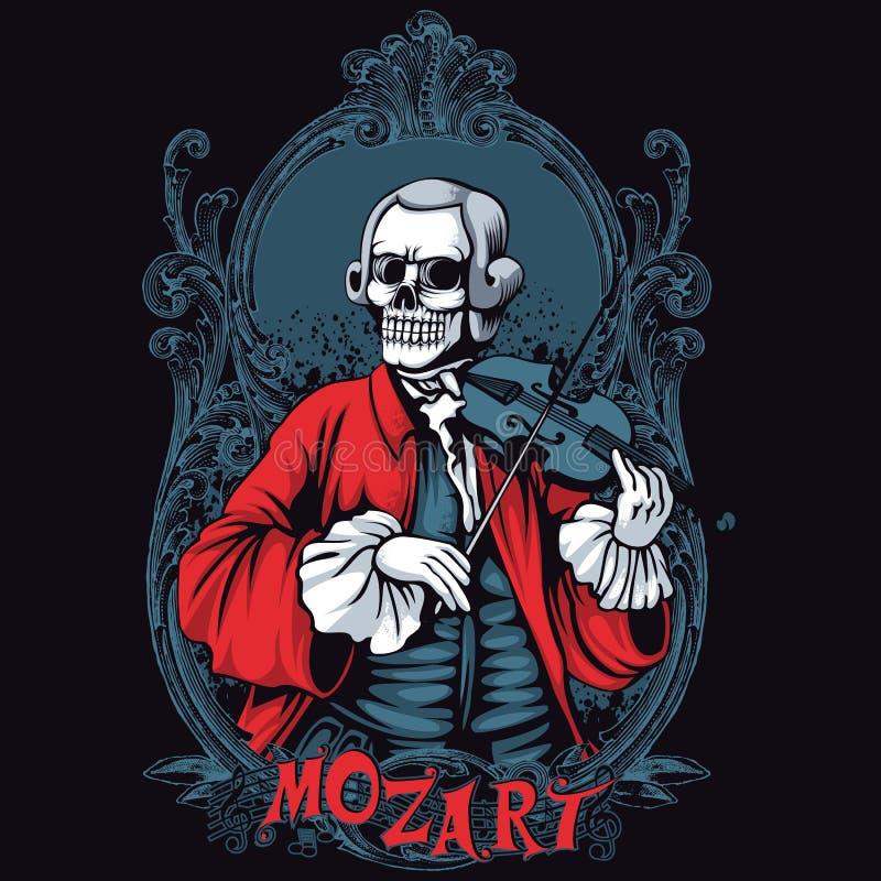 Mozart Skeleton Shirt Design royalty free illustration