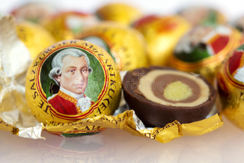 The Mozartkugel, a sweet confection of Austria. The Mozartkugel, a sweet confection made of chocolate and marzipan, is a culinary specialty of Salzburg named stock image