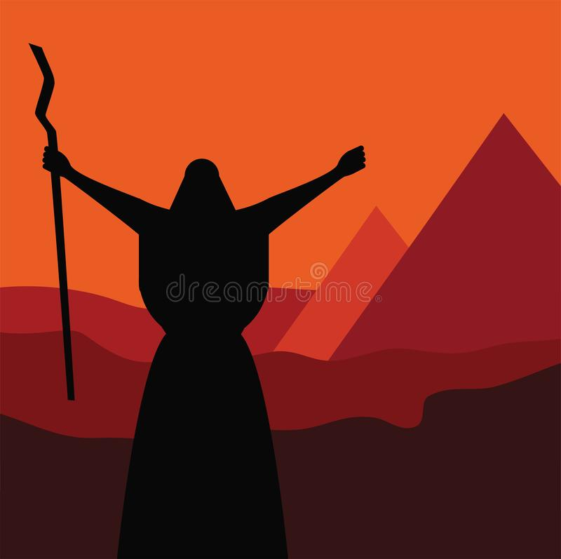 Mozes预定让我的人民出去埃及 犹太假日逾越节故事  库存例证