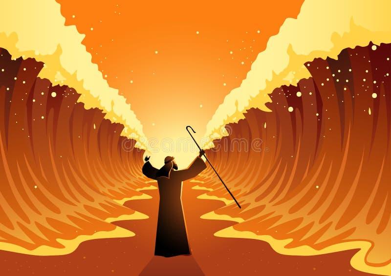 Mozes en het Rode Overzees royalty-vrije illustratie