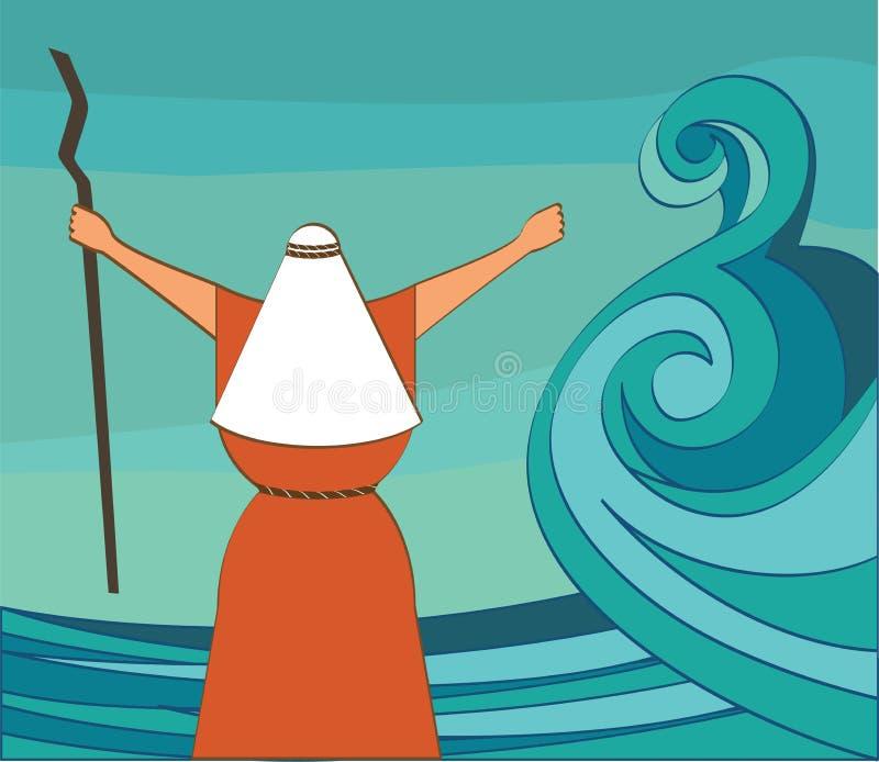 Mozes rozszczepia czerwonego morze i rozkazuje pozwalał mój ludzi iść z Egipt Wektor i ilustracja ilustracja wektor