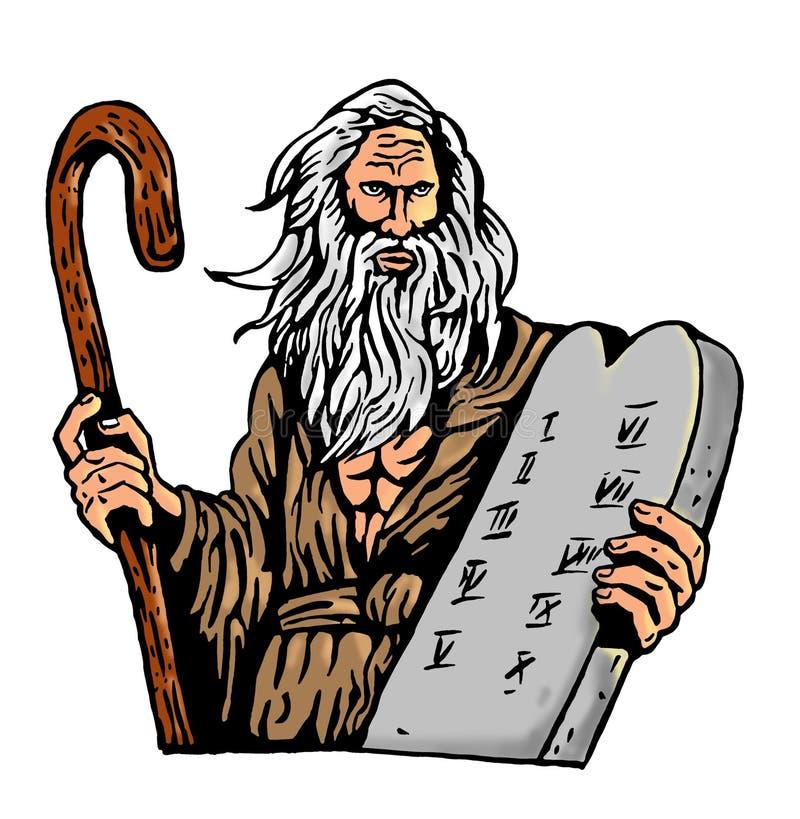 Mozes Tien de wet van Bevelen royalty-vrije illustratie