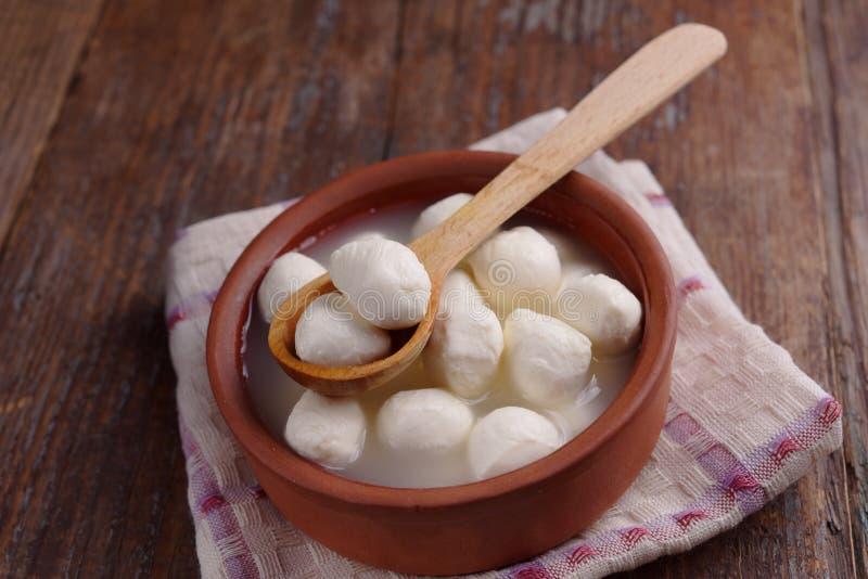 Mozzarella balls in brine stock photo