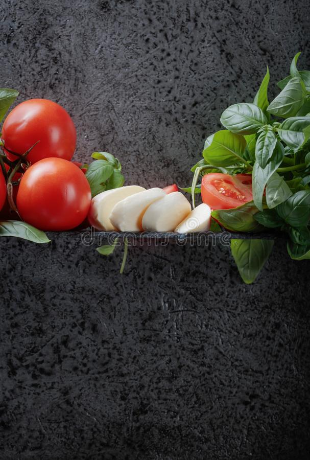 Mozzarella with basil and tomatoes . Mozzarella with basil and tomatoes on a background of old grey wall. Copy space for your text stock photo