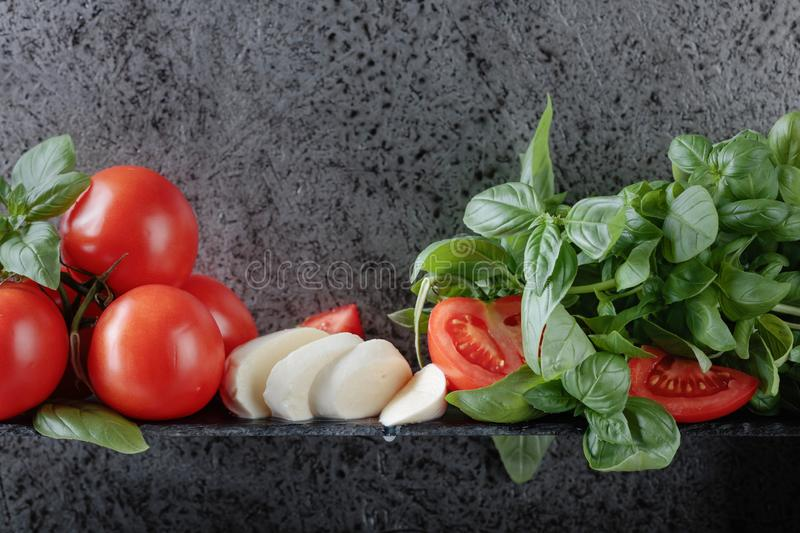 Mozzarella with basil and tomatoes. Copy space for your text royalty free stock photo