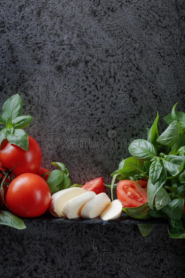 Mozzarella with basil and tomatoes . Mozzarella with basil and tomatoes on a background of old grey wall. Copy space for your text stock photography