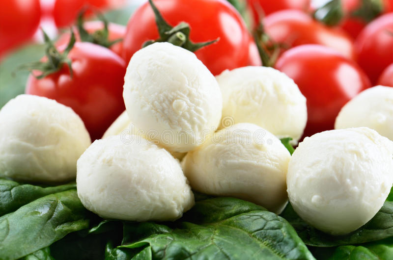 Mozzarella cheese balls, ripe cherry tomatoes and greens on the royalty free stock photography