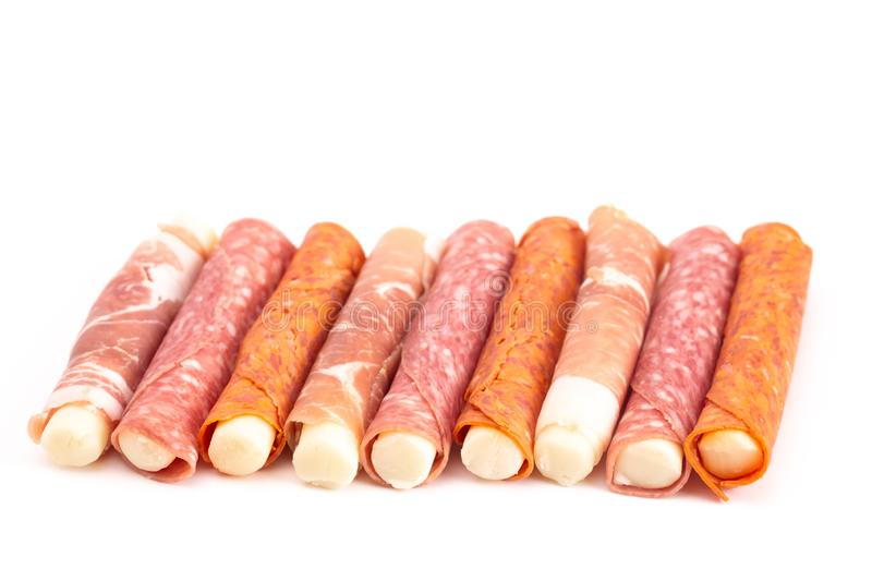 Mozzarella Cheese Stick Wrapped in Cured Meat a Great Snack for. Low Carb Diets like Keto royalty free stock photos