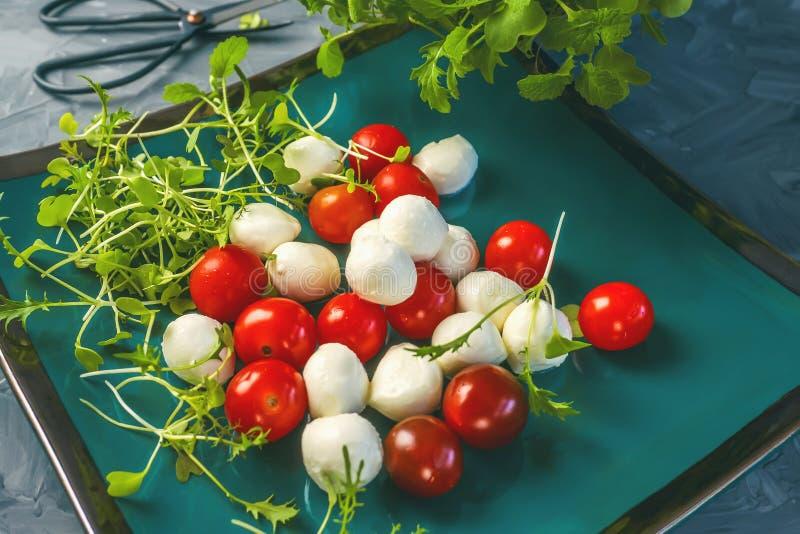 Mozzarella e pomodori con la rucola ed il basilico del timo per preparare l'insalata fotografia stock libera da diritti