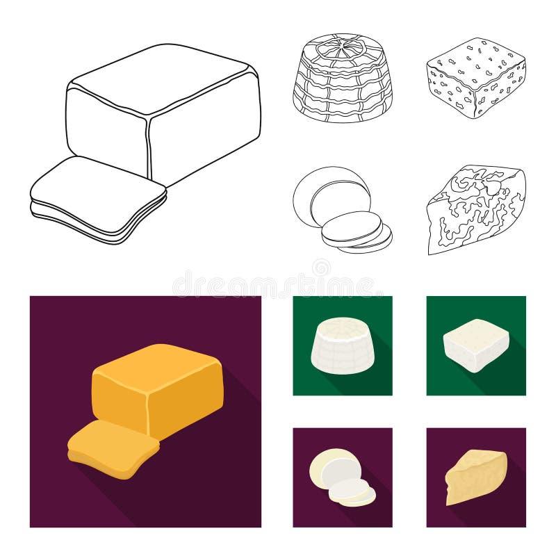 Mozzarella feta, cheddar, ricotta Olika typer av ost ställde in samlingssymboler i översikten, symbol för lägenhetstilvektor royaltyfri illustrationer