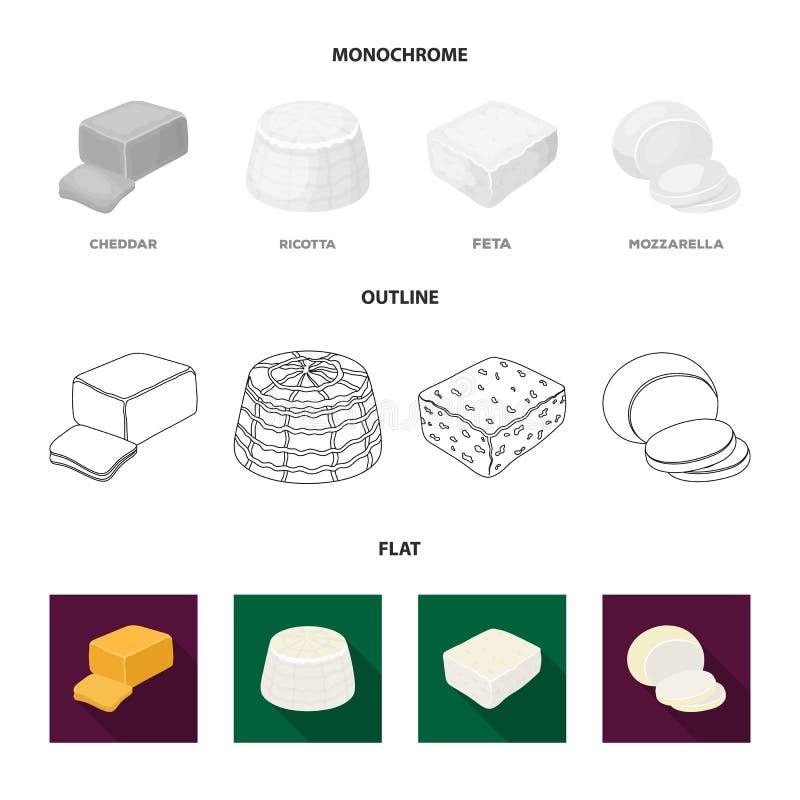 Mozzarella feta, cheddar, ricotta Olika typer av ost ställde in samlingssymboler i lägenheten, översikten, monokrom stil stock illustrationer