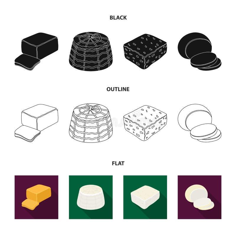Mozzarella feta, cheddar, ricotta Olika typer av ost ställde in samlingssymboler i svart, lägenheten, översiktsstilvektor royaltyfri illustrationer