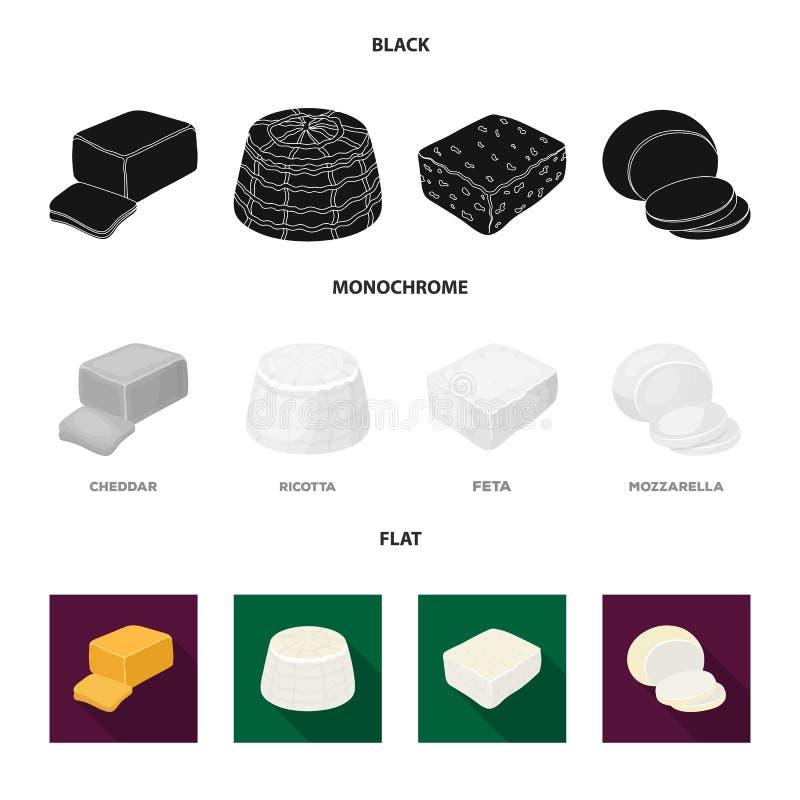 Mozzarella feta, cheddar, ricotta Olika typer av ost ställde in samlingssymboler i svart, lägenheten, monokrom stil vektor illustrationer