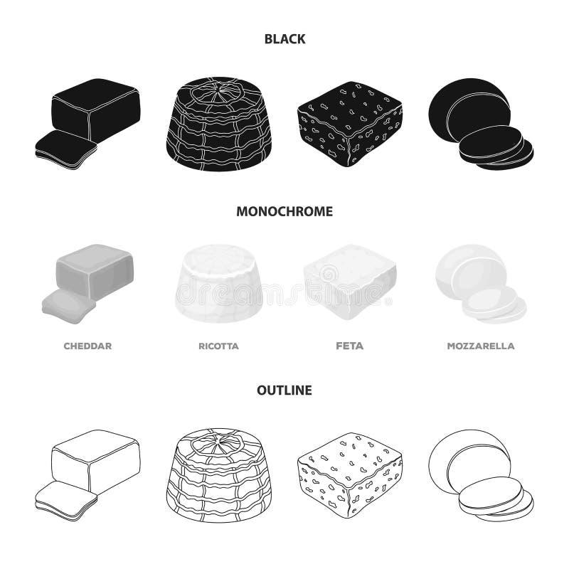 Mozzarella feta, cheddar, ricotta Olika typer av ost ställde in samlingssymboler i svart, monokrom, översiktsstil vektor illustrationer