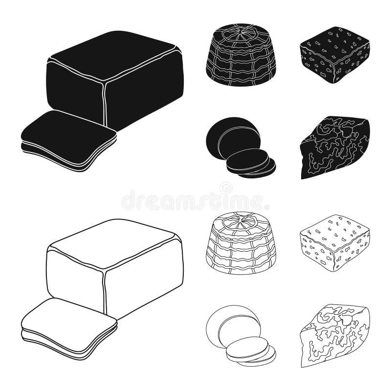 Mozzarella feta, cheddar, ricotta Olika typer av ost ställde in samlingssymboler i svart, symbol för översiktsstilvektor vektor illustrationer