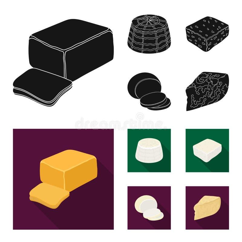 Mozzarella feta, cheddar, ricotta Olika typer av ost ställde in samlingssymboler i svart, symbol för lägenhetstilvektor vektor illustrationer