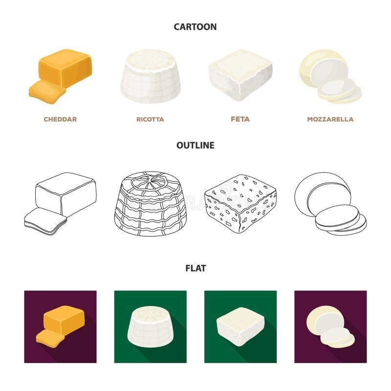 Mozzarella feta, cheddar, ricotta Olika typer av ost ställde in samlingssymboler i tecknade filmen, översikten, lägenhetstilvekto royaltyfri illustrationer