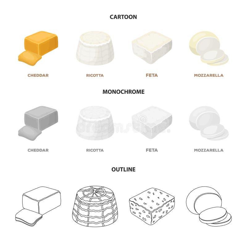 Mozzarella feta, cheddar, ricotta Olika typer av ost ställde in samlingssymboler i tecknade filmen, översikten, monokrom stil stock illustrationer