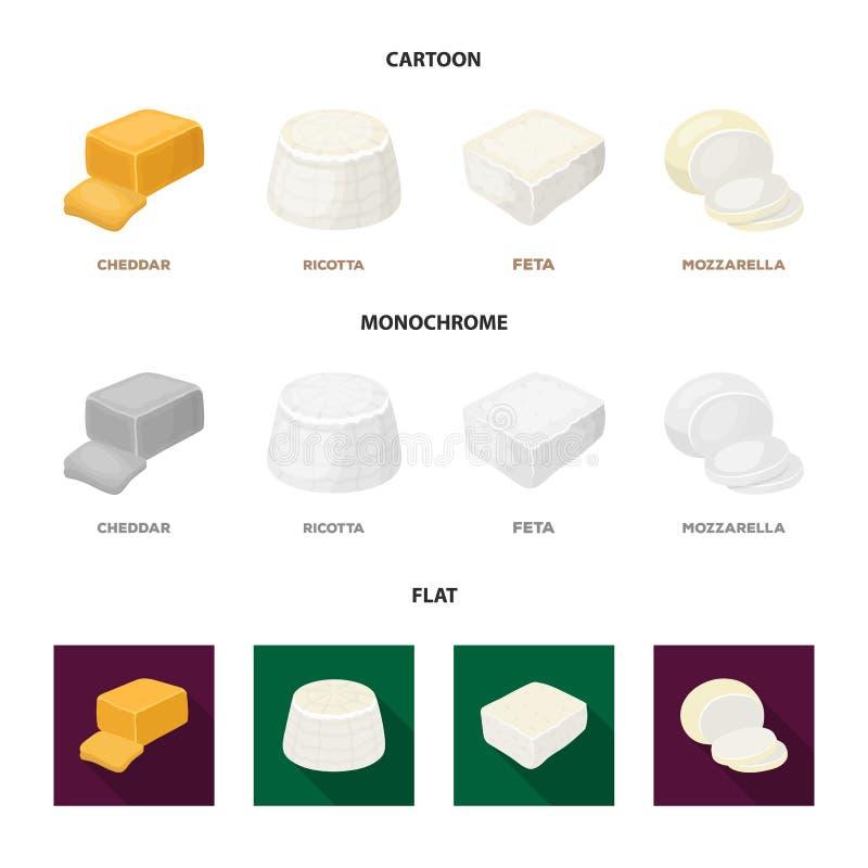 Mozzarella feta, cheddar, ricotta Olika typer av ost ställde in samlingssymboler i tecknade filmen, lägenheten, monokrom stil stock illustrationer