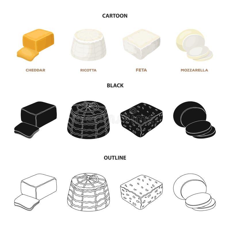 Mozzarella feta, cheddar, ricotta Olika typer av ost ställde in samlingssymboler i tecknade filmen, svart, översiktsstilvektor royaltyfri illustrationer