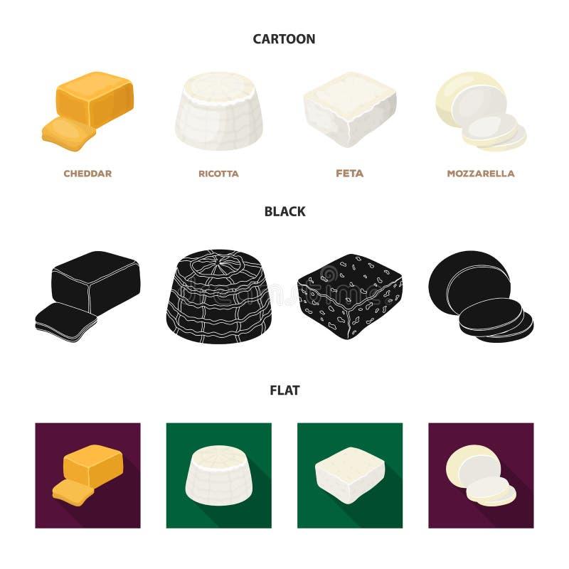 Mozzarella feta, cheddar, ricotta Olika typer av ost ställde in samlingssymboler i tecknade filmen, svart, lägenhetstilvektor royaltyfri illustrationer