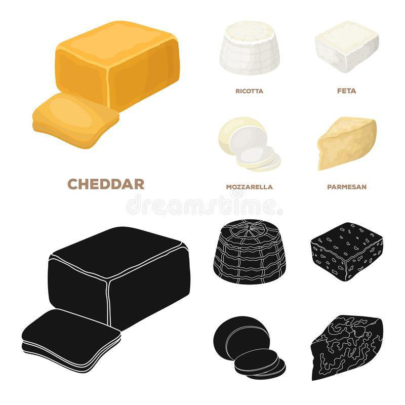 Mozzarella feta, cheddar, ricotta Olika typer av ost ställde in samlingssymboler i tecknade filmen, symbol för svartstilvektor stock illustrationer