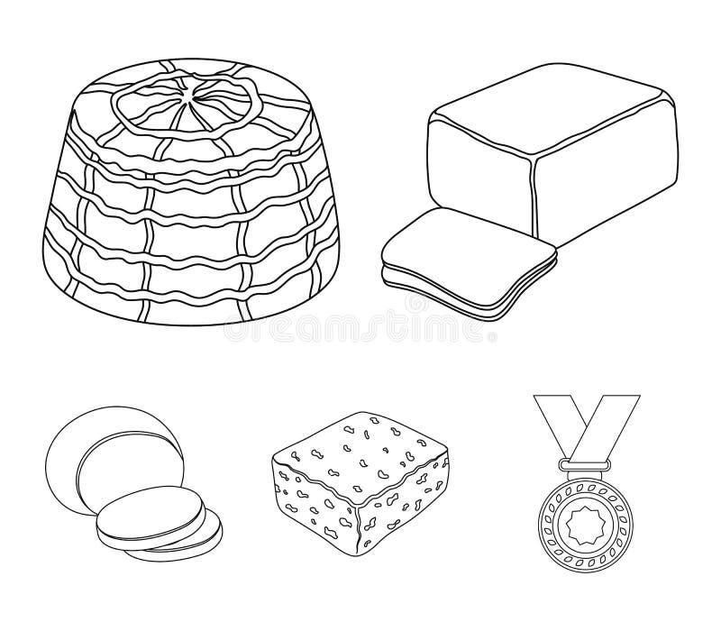 Mozzarella feta, cheddar, ricotta Olika typer av symboler för ostuppsättningsamling i materiel för symbol för översiktsstilvektor vektor illustrationer
