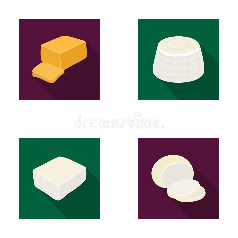 Mozzarella feta, cheddar, ricotta Olika typer av symboler för ostuppsättningsamling i plant materiel för stilvektorsymbol royaltyfri illustrationer