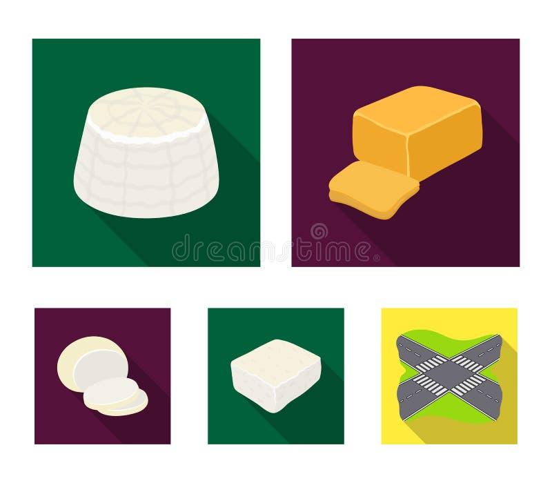 Mozzarella feta, cheddar, ricotta Olika typer av symboler för ostuppsättningsamling i plant materiel för stilvektorsymbol stock illustrationer